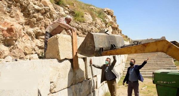 شروع بازسازی و بازسازی دیوار جنوبی معبد آناهیتا کنگاور